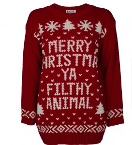 filthy animal captioned christmas jumper
