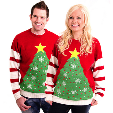couple in ugly christmas sweater