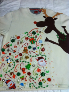 ungly christmas sweater with an elk