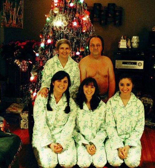 family of five, husband half naked christmas photo