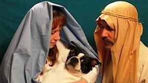 family dressed as joseph and marie - awkward christmas picture